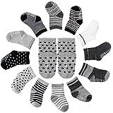 FUTURE FOUNDER 12er-pack Baby ABS Socken, Anti Rutsch Socken für 12-36 Monate Baby Mädchen & jungen, Schwarz-Weiß-Grau 12er-Pack