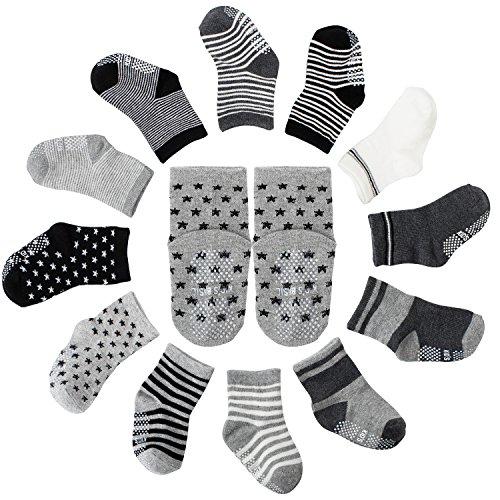 FUTURE FOUNDER FUTURE FOUNDER 12er-pack Baby ABS Socken, Anti Rutsch Socken für 12-36 Monate Baby Mädchen und jungen, Schwarz-Weiß-Grau 12er-Pack