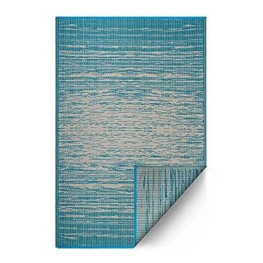 Fab Habitat Reversible, Indoor/Outdoor Weather Resistant Floor Mat/Rug - Brooklyn - Teal (5' x 8')