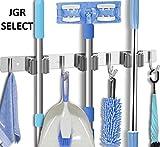 JGR SELECT Colgador de Escobas y Fregonas – Organizador Pared de Acero Inoxidable con 3 Ranuras y 4 Ganchos para Cepillo y Fregona – Soporte Multiusos Cocina, Hogar, Garaje, Jardin