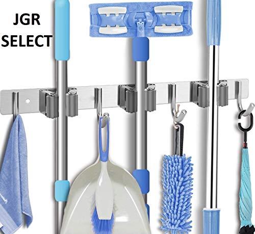 JGR SELECT Gebürstet Edelstahl Gerätehalter - Besenhalter Wandhalterung Besen,Geräteleiste,Besenleiste,Aufhängung Besen - Grau