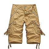 Fmkaieo Pantalones cortos de cargo para hombre de algodón, color liso, pantalones cortos de trabajo con múltiples bolsillos, pantalones Cropped Bermuda casual para hombre, Caqui., 5X-Large