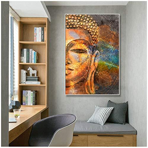 NIESHUIJING Druck auf Leinwand Moderne Poster Wandkunst Gemälde Klassische Abstrakte Goldene Buddha-Bilder für Wohnzimmer Wohnkultur 60 x 90 cm (23,6 x 35,4 Zoll) Kein Rahmen
