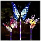 KLDDE Butterfly Garden Lámparas solares, jardín Solar Cambio de Color Claro LED Luz de Fibra óptica Iluminación de Fiestas al Aire Libre Iluminación para la manija del césped