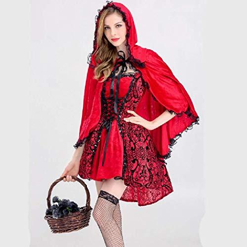 Pkfinrd Vrouwen Roodkapje kostuum Halloween Kerstfeest rol spelen Volwassenen Cosplay jurk kostuum voor vrouwen roodkapje Cosplay Halloween carnaval (maat: XL)