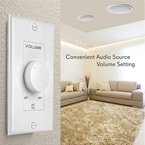 Wall Mount Volume Control Knob - Flush In-Wall Plate Rotary Style Adjustment 20 – 20kHz Frequency Response Companion for Hi-Fi Four-Pair Speaker Selector w/ Audio