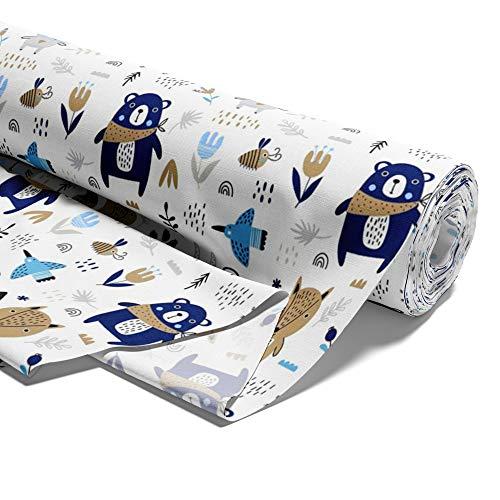 Tela algodón con estrellas, por metros, tejido de algodón 100%, tejido para coser, tejido algodón único, certificado Öko-Tex Standard 100 (Animales, 100 cm)