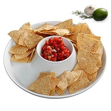 KooK Chip & Dip Ceramic Serving Dish Bowl White - 13 Inch