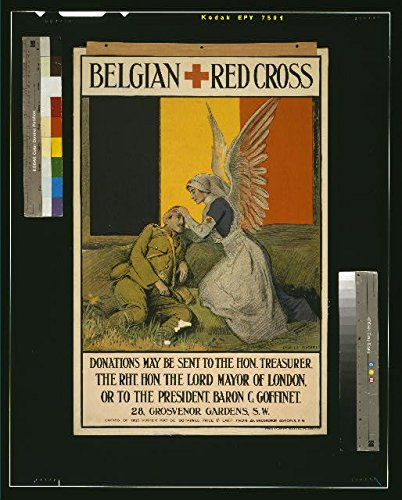 HistoricalFindings Photo: World War I,WWI,Belgian Red Cross,Nurs,Angel Wings,Wounded Soldier,1915,England