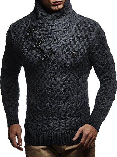 Leif Nelson Herren Strick-Pullover Strick-Pulli mit Schalkragen Moderner Woll-Pullover Langarm-Sweatshirt Slim Fit mit Schnallen LN5255 Anthrazit Schwarz Large