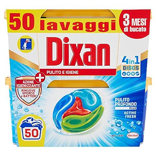 Dixan Discs Pulito e Igiene, Detersivo Lavatrice Predosato In Capsule, Azione Igienizzante, confezione da 2 x 25 Lavaggi