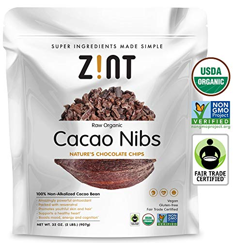Zint Organic Cacao Nibs (32 oz): Paleo-Certified, Organic, Non GMO, Anti Aging Antioxidant Superfood, Gluten Free Cocoa Cacao Beans, Pure Delicious Chocolate Essence