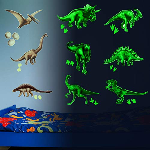 20 Pieces Dinosaur Wall Decals Luminous Large Dinosaur Sticker Removable PVC Dinosaur Wall Sticker for Bedroom Living Room Classroom Bathroom Birthday Christmas Halloween Party