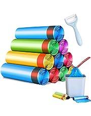 Vuilzakken, biologische vuilniszakken met draaggreep, scheurvast en vloeistofdicht, 75 stuks, kleine recycling biologische zakken voor woonkamer, de keuken (5 rollen meerkleurig)