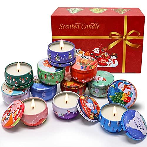Stylebest Paquete de 12 Velas perfumadas de Navidad Juego de Regalo Cera de Soja Natural con aceites Esenciales para aliviar el estrés Juego de Velas para la Cena de Navidad Yoga para Dormir
