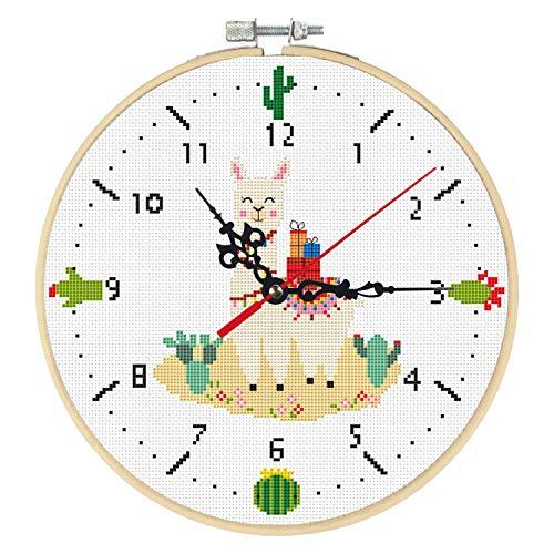 Xnuoyo Kits de Punto de Cruz con Reloj Juego Herramienta Bordado con Patrón de alpaca e Instrucciones Arte Hecho a Mano para Principiantes Con Bastidor de Bordado, Aguja e Hilo(Reloj - Alpaca)