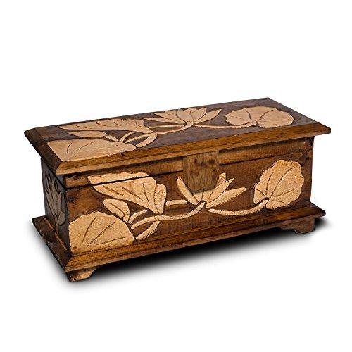 Baúl de madera con diseño de flor, 40 – 60 cm, cofre del tesoro, caja de madera, tallado marrón, tamaño: 40 cm