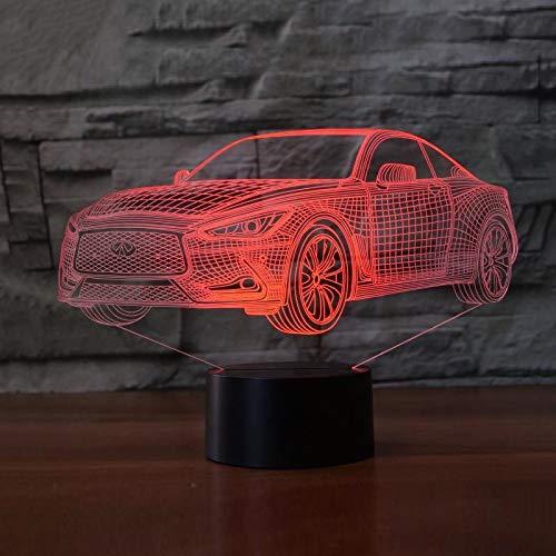 KangYD 3D LED Night Light Luxury Car Model, LED Optical Illusion Lamp, E - Alarm Clock Base(7 Color), Office Decor Lamp, Mood Lamp, Creative Light, Bedside Lamp, Gift for Boy
