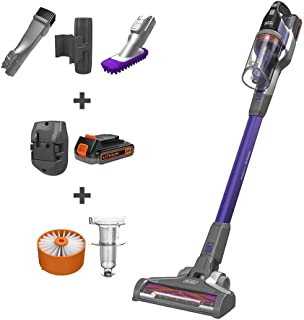 BLACK+DECKER BSV2020P POWERSERIES Extreme Pet Cordless Stick Vacuum Cleaner, Purple (Renewed)