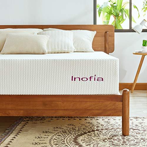 Inofia Certi PUR-US Matelas double en mousse à mémoire de forme 24 cm de hauteur infusée à la lavande pour un calme naturel 135 x 190 cm