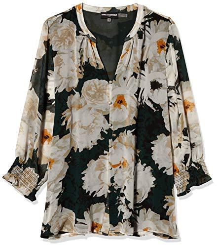 Karl Lagerfeld Paris Damen Bell Sleeve Keyhole Blouse Hemd, Forest Multi, Groß