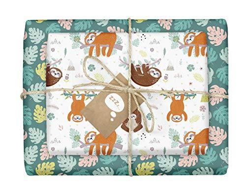 Faultier-Geschenkpapier: 4x Einzelbögen + 4x Geschenkanhänger für Kinder | Doppelseitig, Recycling-Papier