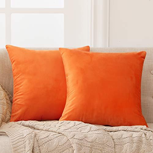Deconovo 2er Set Samt Kissenbezüge Sofa Kissenbezug Zierkissenbezüge Weich Design Dekor Schlafzimmer Wohnzimmer Couch Büro Orange 40x40cm
