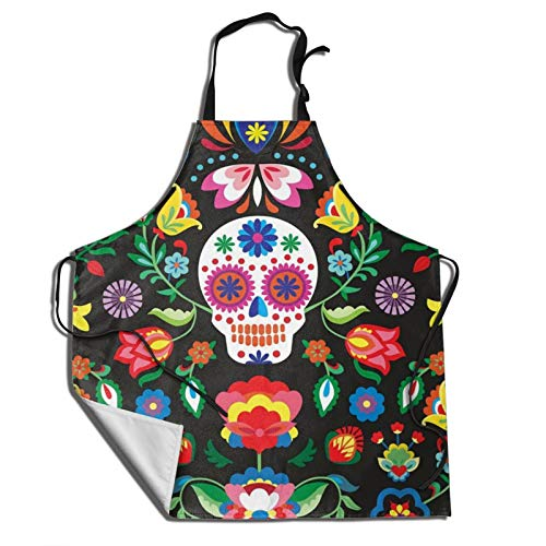 MINISOON Sugar Cute Skull Chef Bib Apron Water Resistant Artists Aprons for Men Women with Adjustable Neck Strap for Cooking BBQ Baking Painting Gardening School Kitchen
