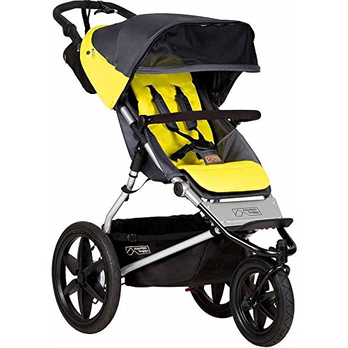 Terrain Jogging Stroller with Reversible Lliners and Retractable Leg Extension, Yellow
