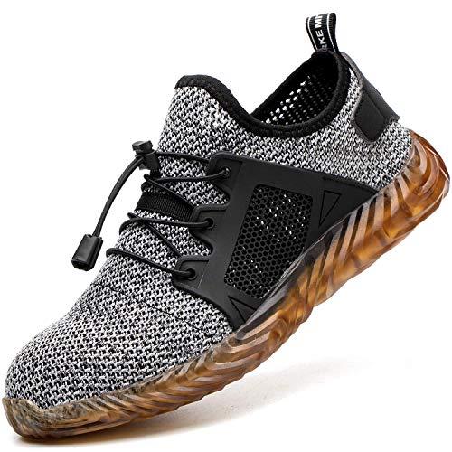 COOU Arbeitsschuhe Herren S3 Leicht Comfort Sicherheitsschuhe rutschfest Sportlich Jogger Sneaker für Frauen Männer, 703/Gray36