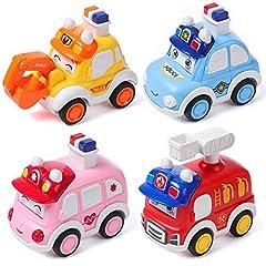 Idea Regalo - 4 Pezzi Macchina Giocattolo Bambino, MOOKLIN ROAM Set di Veicoli da 1 2 3 Anni per Ragazzo, Wheels Macchinine Auto da corsa, Mini Premere Autos, Veicoli Regalo per Bambini
