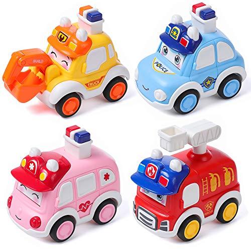 MOOKLIN ROAM 4Pcs Vehículos de Construcción Mini, Coche de Juguete de Plástico Control, Press and Go Camion de Friccion, Set de Camiones para Regalo de los Niños