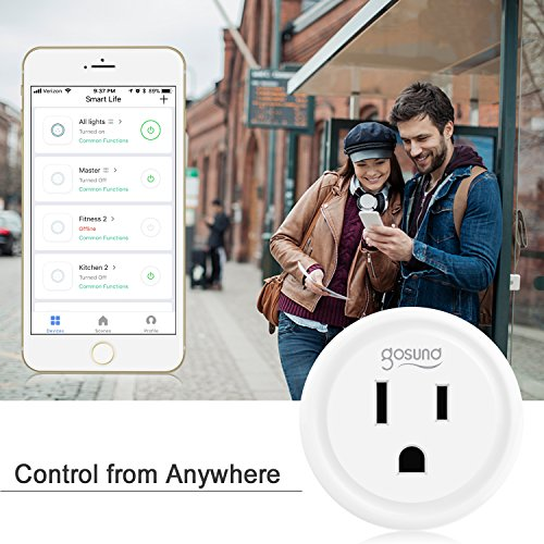 Smart Plug, Gosund Mini WiFi Outlet Works with Alexa, Google Home   , No Hub Required, Remote Control Your Home Appliances from Anywhere, ETL Certified,Only Supports 2.4GHz Network(4 Pieces)