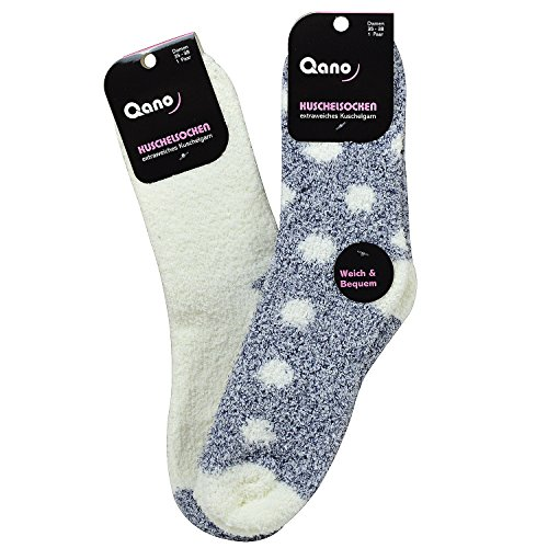 Qano 2090-3 2er Pack Damen Kuschelsocken blau & weiß (35-38, blau & weiss)