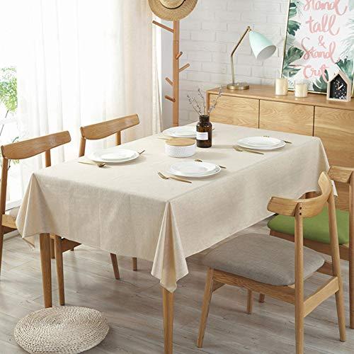 PLIENG Algodón Y Lino Color Sólido Mantel Impermeable Mantel Banquete De Boda Cubierta De Mesa De Comedor Decoración del Hogar,Beige-60x60(24x24in)