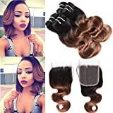 Black Friday Deal Peruvian Ombre Hair Bundles with Closure Grade 10A 4 Bundles Ombre Short Bob Body Wave Hair with Lace Closure 100%...