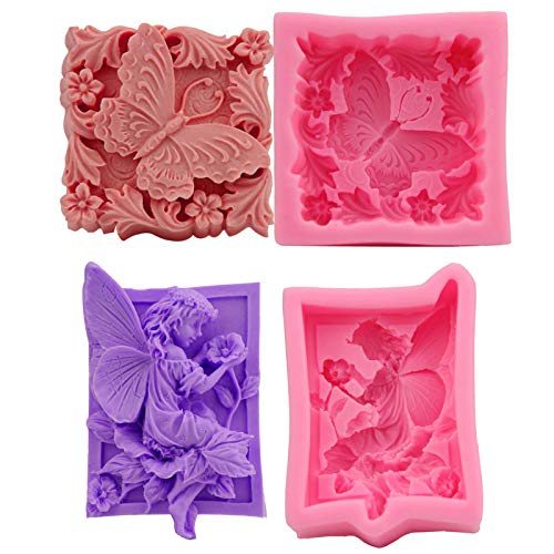 LEZED Stampi per Sapone in Silicone Farfalla Stampo per Muffin in Silicone a Forma di Angelo Stampo per Fai da Te Fatto in Casa Riutilizzabile per Torta Cioccolato Biscotti 2 Pezzi