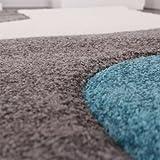 Paco Home Designer Teppich mit Konturenschnitt Modern Grau Türkis Weiss, Grösse:160×230 cm - 2