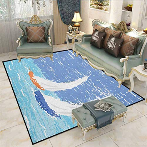 Nautical Kids Play Mats Christmas Thanksgiving Holiday Decor Rug Grunge Style Illustration of Two Racing Sailboats in A Windy Ocean Water Print Rugs for Christmas and Thanksgiving Pale Blue 4 x 6 Ft