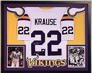 Paul Krause Signed Custom Framed Minnesota Vikings W Jersey HOF 98 - JSA Certified