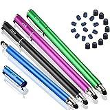 Bargains Depot Stylet capacitif 2 en 1 universel pour écran tactile Tablettes/téléphones portables avec 20 embouts en caoutchouc souple supplémentaires remplaçables (4 pièces, noir/bleu/violet/vert)