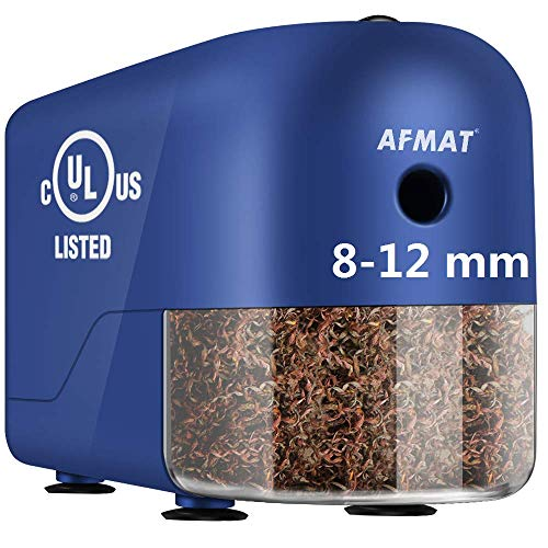 AFMAT Colored Pencil Sharpener, Commercial Electric Pencil Sharpener, Heavy Duty Pencil Sharpener for 8-12mm No. 2/Jumbo Pencils, Large Professional Pencil Sharpener for Classroom, Teacher Gifts