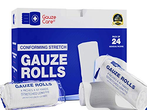 Gauze Rolls Pack of 24 – Premium Quality Lint and Latex-Free 4 inches x 4.1 Yards Conforming Stretch Bandages Designed for Effective Wound Care & Comfort