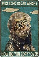 ブリキ メタル プレート サイン 2枚 猫ブリキサインサインヴィンテージルックブリキサインバーカフェサインメタルアートデコレーションアイアンペインティング12inX 8in(30cm X 20cm)
