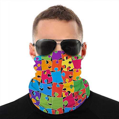 ncnhdnh Microfiber Neck Shield Cover Bandanas For Dust Outdoors Scattered Jigsaw Puzzle Colorful Pieces or Details Windproof Shield
