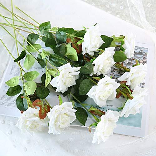 JUSTOYOU 12 Piezas Flores Artificiales Rosas Flores de Terciopelo Falso Largo Tallo Rosas Artificiales Ramo de Flores para Bodas Decoraciones para el hogar (Blanco)