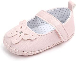 Lidiano Baby Girl Soft Rubber Sole Non Slip Mary Jane Sandles Toddler Slippers Shoes Loafers 0-18 Months (12-18 Months, Pink Butterfly)