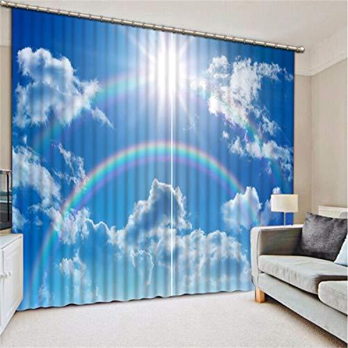 HAOTTP 3D Rideaux occultants doublures de lit Mode personnalisé Arc-en-Ciel Nuage pour Chambre Nouvelle personnalisé Belle fenêtre d'ombre H270xW300cm