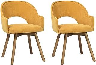 Lot de 2 chaises de salle à manger avec accoudoirs - Style contemporain - Chaise rembourrée - Pieds en bois - Couleur : jaune
