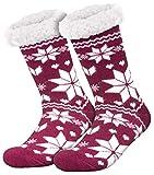 Compagno calcetines amorosos con ABS suela antideslizante calcetines de invierno mujer hombre calcetines 1 par talla única, Color:Vino rojo